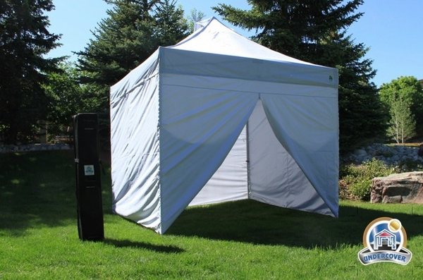 new styles 212b6 a1fd6 Undercover 10 x 10 Commercial Popup Canopy with Carry Bag + Four Sidewalls